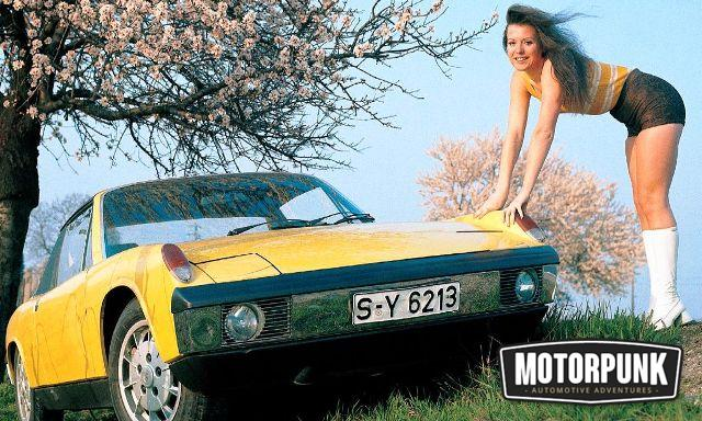 Porsche 914 with a woman stuck to it