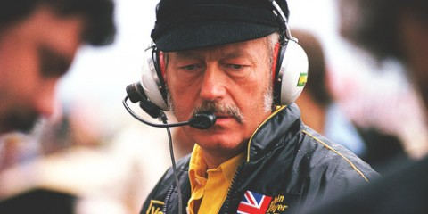 Colin Chapman, Lotus owner, during a slightly rainy practice session, French Grand Prix at Paul Riccard