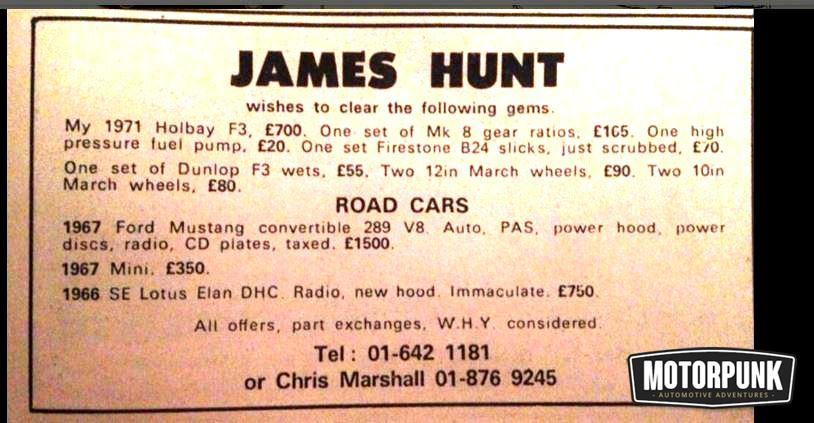 james hunt advert