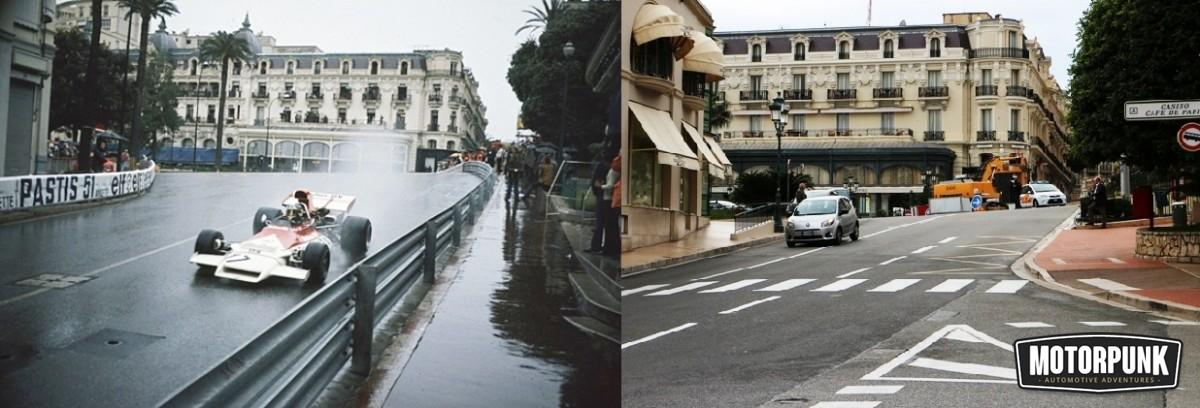 beltoise in a BRM at casino square then and now